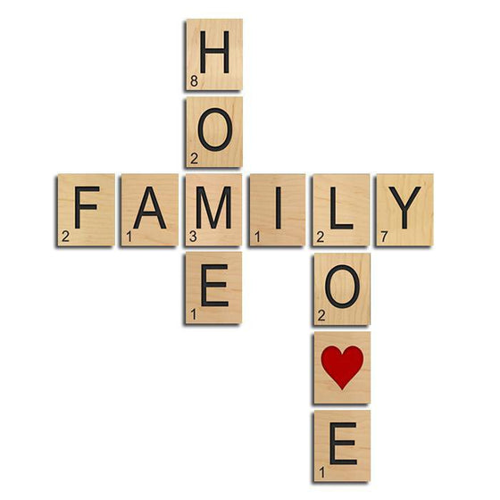 Personalized wall art using block letters to create the words FAMILY, HOME, and LOVE - Personal-Prints