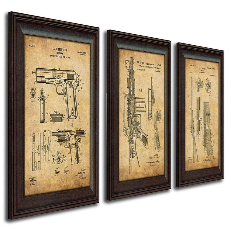 Vintage gun posters of the original patent art for a Colt Revolver, Browning 1911, Shotgun, and AR-15 - Personal-Prints