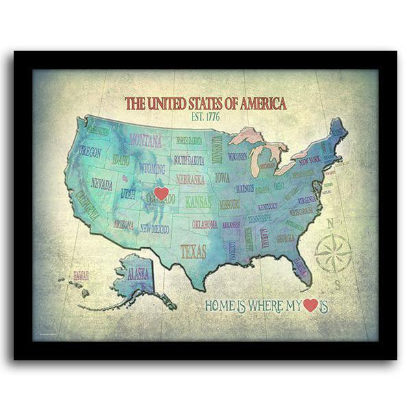 Personalized Map American Wall Art State Art Personal Prints