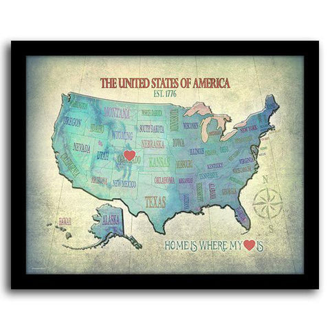 Home State Map - Framed