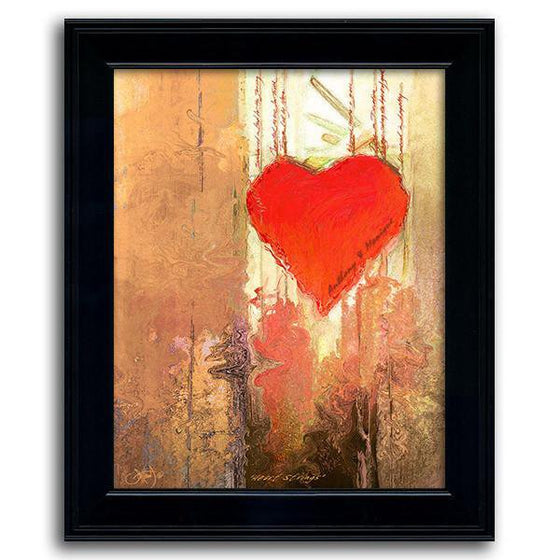 Framed art painting of a bright red heart and a subtle quote - Personal-Prints