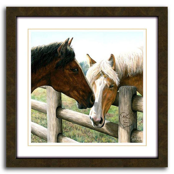 Horse art print featuring two horses on either side of a fence - Personal-Prints