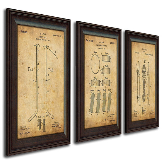 Patent art prints based on the original drawings of a hockey stick, puck, and skates - Personal-Prints