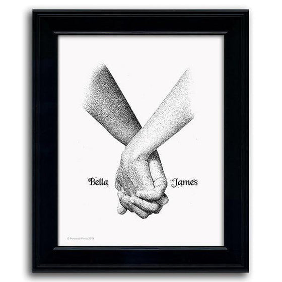 Art pencil drawing of two hands intertwining fingers and your names on either side - Personal-Prints