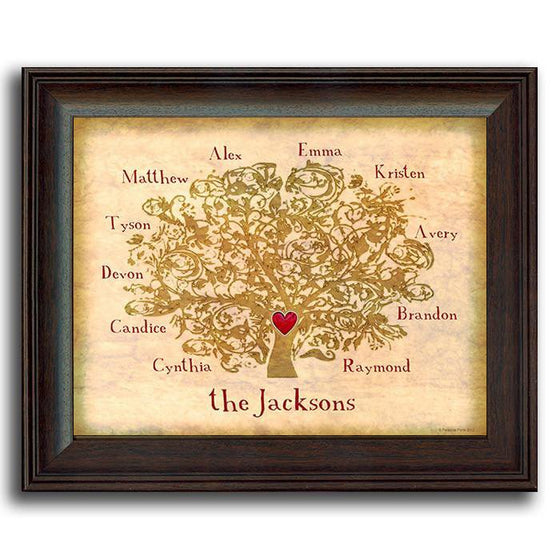 Personalized family tree print with a large tree, names surrounding it, and a heart in the center - Personal-Prints