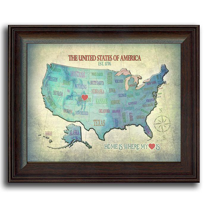 Blue personalized map of the United States with a red heart for your home state - Personal-Prints