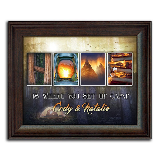 This camping-themed framed art piece uses photographs to spell the word HOME - Personal-Prints