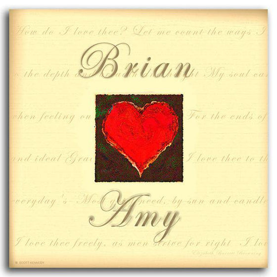 Romantic love print with a red heart, yellow background with a quote, and your names - Personal-Prints