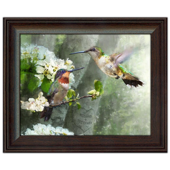 Hummingbird art, budding trees and your personalized names in the heart