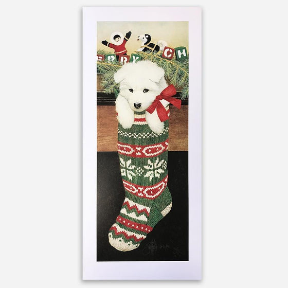 White Christmas - Samoyed Puppy Dog Art by Artist Scott Kennedy