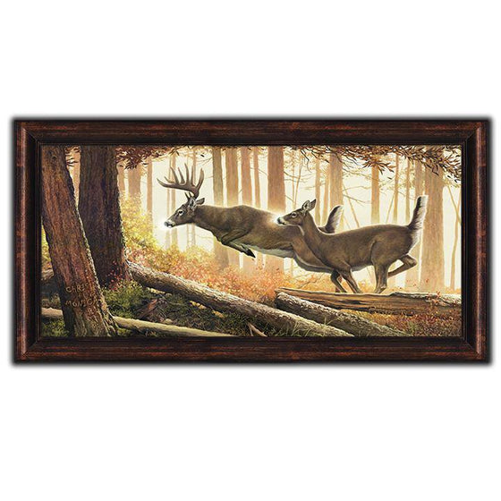 Whitetail deer painting of two deer jumping over fallen branches in the forest - Personal-Prints