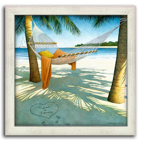 Framed beach picture of a hammock hanging between two palm trees and ocean in the background - Personal-Prints