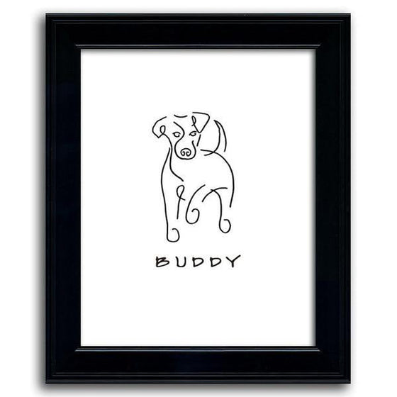 Playful dog line drawing of a Jack Russell and the pet's name below - Personal-Prints