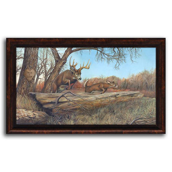 Personalized nature wall decor of a deer jumping over a fallen branch - Personal-Prints