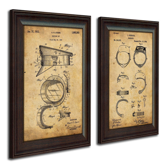 Personalized patent art prints of the patent for police hat and cuffs - Personal-Prints