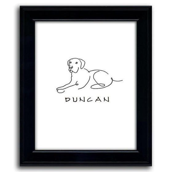 Line drawing art of a Labrador with the pet's name below - Personal-Prints