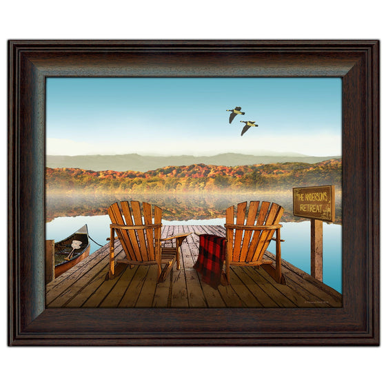 Lodge Decor art of a lake dock with two chairs and a canoe- Personal-Prints