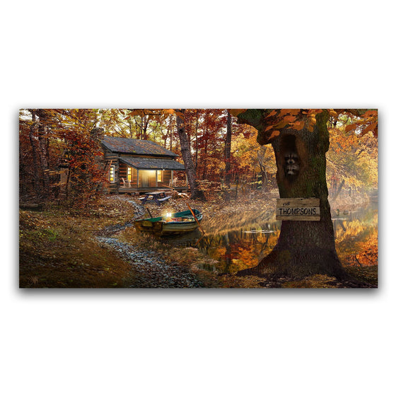 Autumn wall decor of a house in the forest by a lake - Personal-Prints