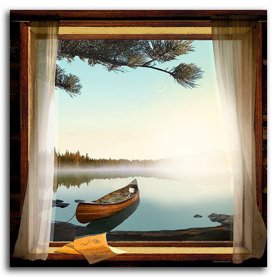 Lake cabin decor of a window, canoe, and the sunrise - Personal-Prints