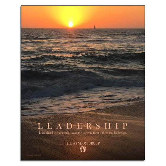 Inspirational wall hanging featuring an image of the ocean at sunset with the word Leadership - Personal-Prints