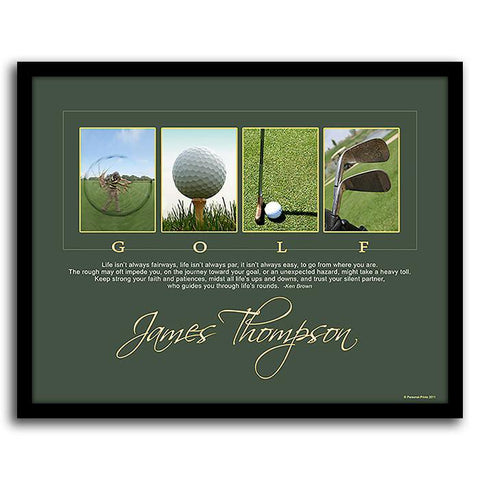 Life's Rounds - Personalized Golf Poster - Framed