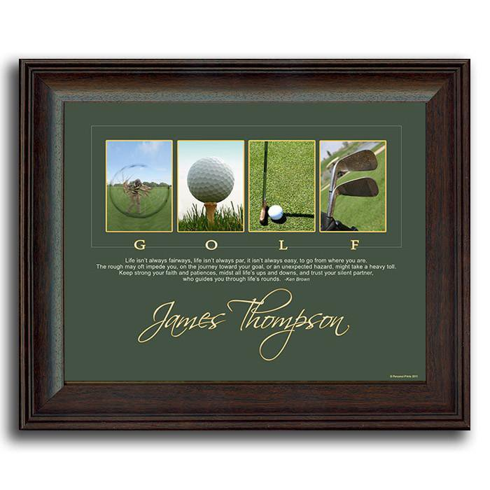Framed golf art using golf-themed photographs to spell the word GOLF - Personal-Prints