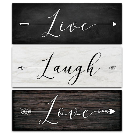 Set of three wall art panels that say Live, Laugh, Love in script