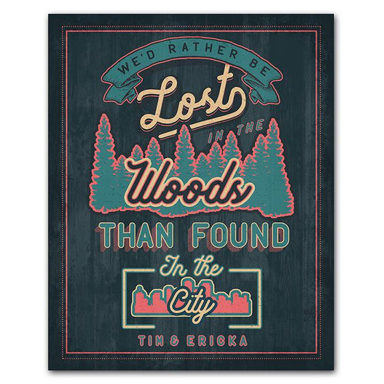 Rather be lost in the woods than found in the city - Personalized Sign - Personal-Prints