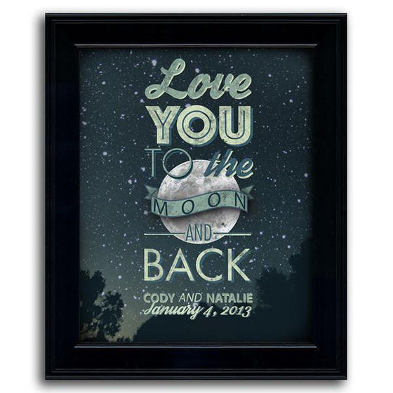 Framed art romantic Personalized gift of the night sky with a quote - Personal-Prints