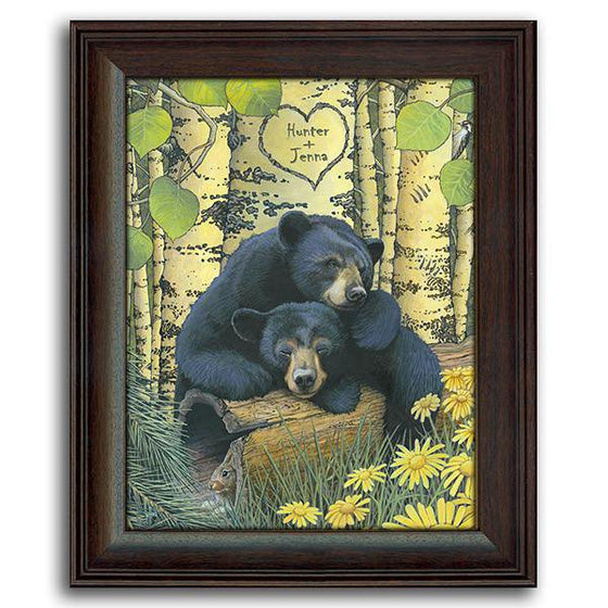 Animal art print with two black bears sleeping in the forest - Personal-Prints