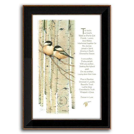 Nature wall decor with two Chickadees in a tree and a poem - Personal-Prints