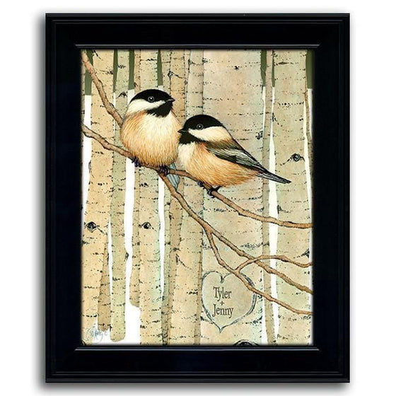Love Birds Chickadee art by Scott Kennedy Personalized with names in heart