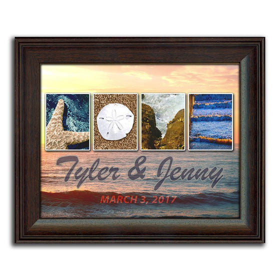 Personalized beach scene using themed photographs to spell the word Love - Personal-Prints
