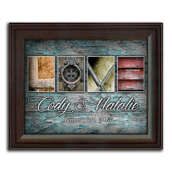 Personalized romantic art using photographs to spell the word love - Personal-Prints
