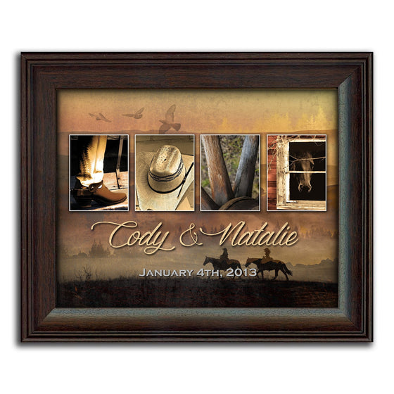 Love Letters Framed Western Art & Romantic Gift for Country Wedding