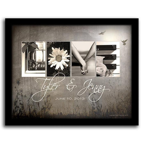 Love Letters - Romantic Personalized Gift - Framed Canvas