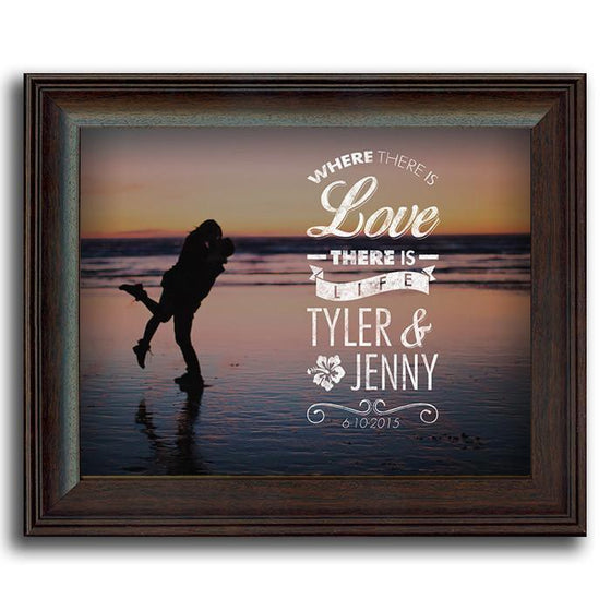 Romantic Beach scene framed art with a quote - Personal-Prints
