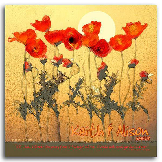 Framed flower print of red flowers with bright sun in the background - Personal-Prints