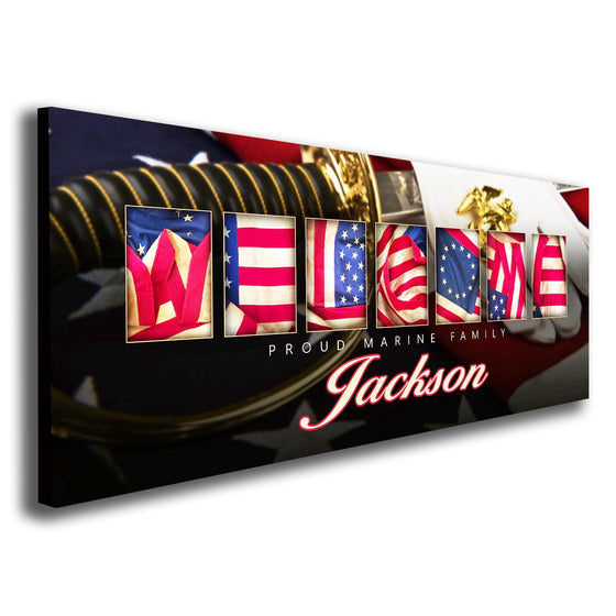 Marine corps art using the American flag to spell the word Welcome - Personal-Prints