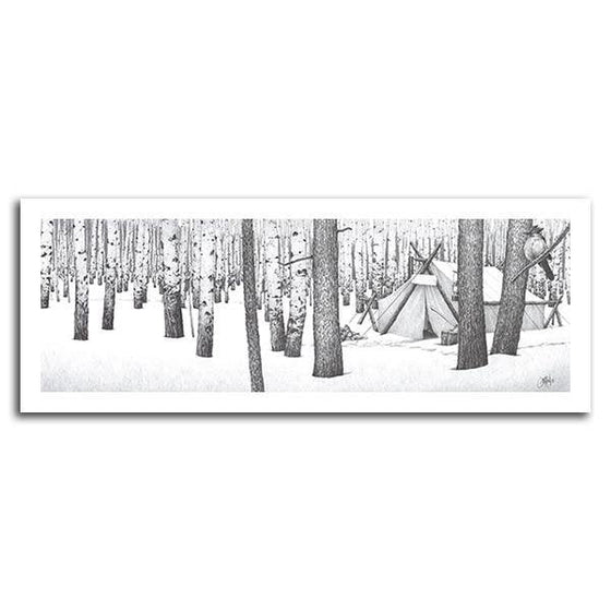 Art pencil drawings of a tent in a forest - Personal Prints