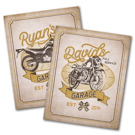 Vintage Motorcycle Garage Signs- Mounted to Wood Board