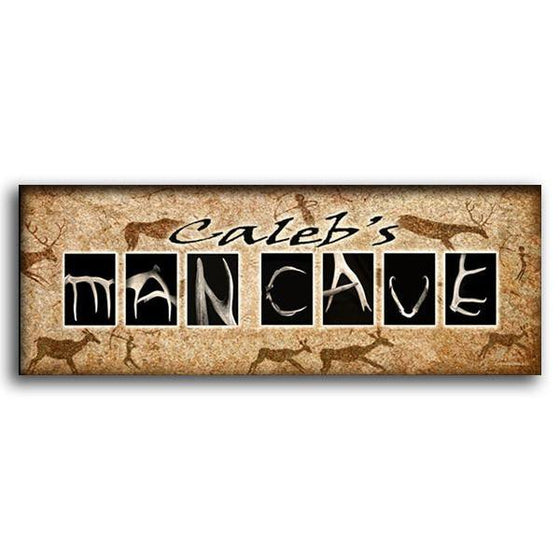 Man cave wall art using antlers to spell the word Man Cave - Personal-Prints