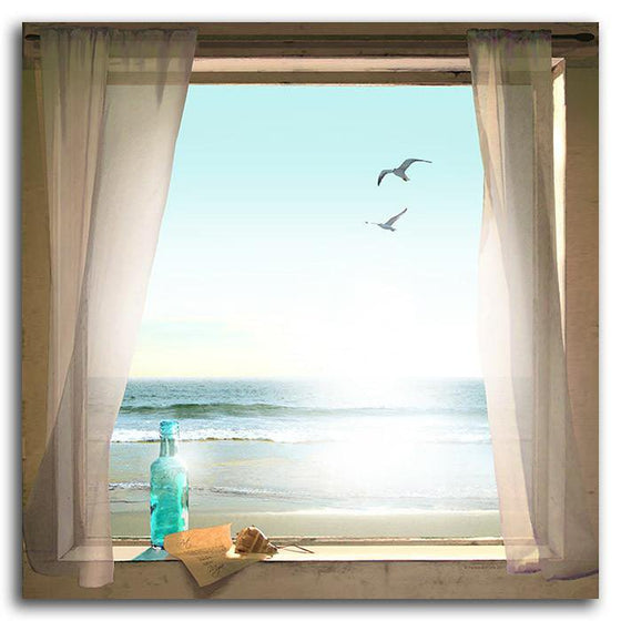 Beach picture of a window with message, bottle, and birds - Romantic Personalized Gift from Personal-Prints