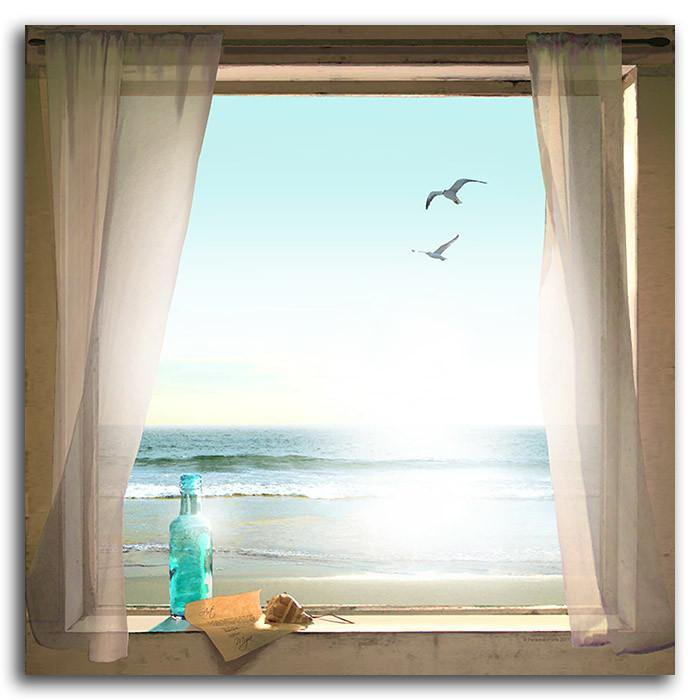 Framed beach picture of a window with message, bottle, and birds - Personal-Prints