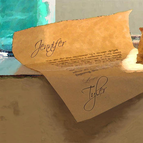 Message In A Bottle Personalized Art Note Detail