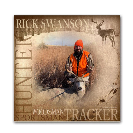 Personalized big game hunting/ sportsman art print using your name and your photograph- wood block mount