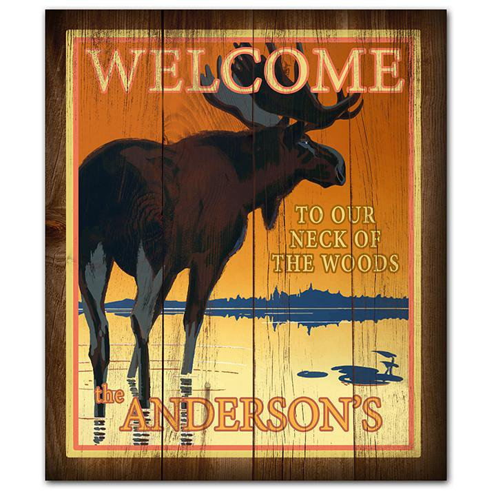 Welcome to our neck of the woods - personalized sign