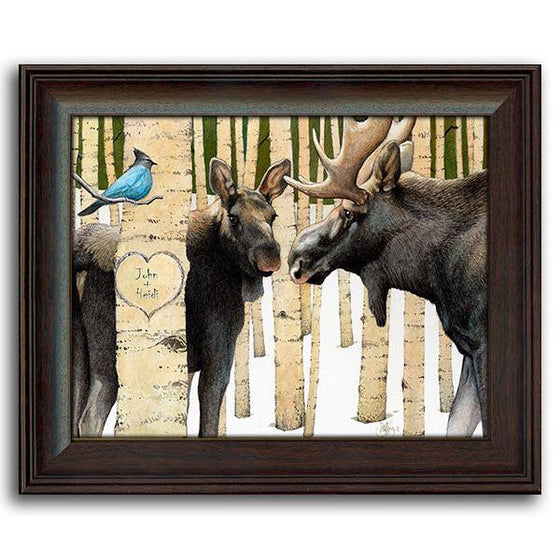 Aspen tree art with two moose and a bluebird - Personal-Prints