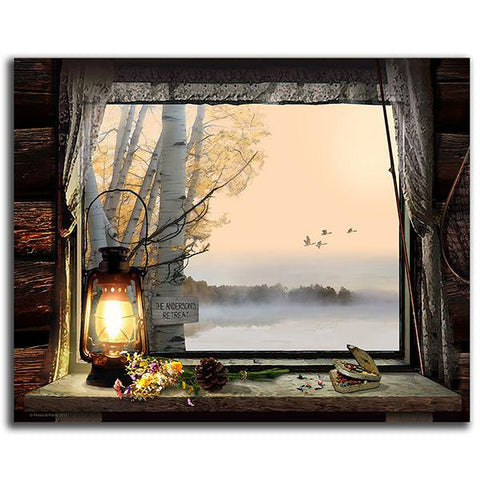 Morning View - Personalized window lake scene art