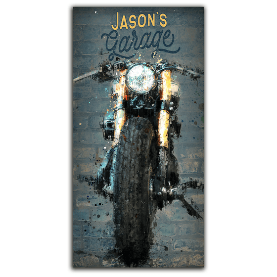 Personalized Motorcycle garage sign art from Personal-Prints